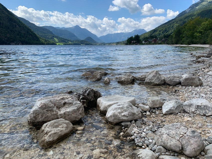 The crystal-clear waters of Grundlsee Lake