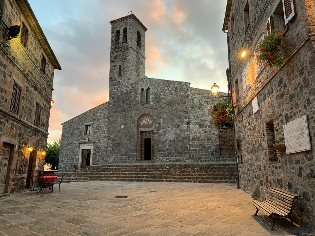 St. Peter's church, built in Romanic-Gothic style and dating back to the 13th century, in Radicofani