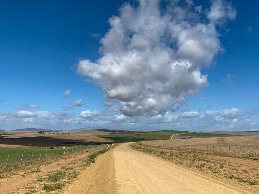 On dirt roads through farmland and into a good amount of headwind.