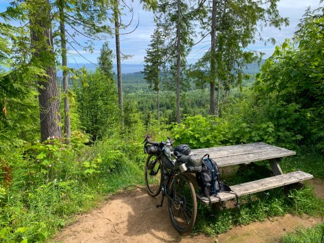 A picnic bench providing an ideal rest stop, roughly halfway through the Adventure Route