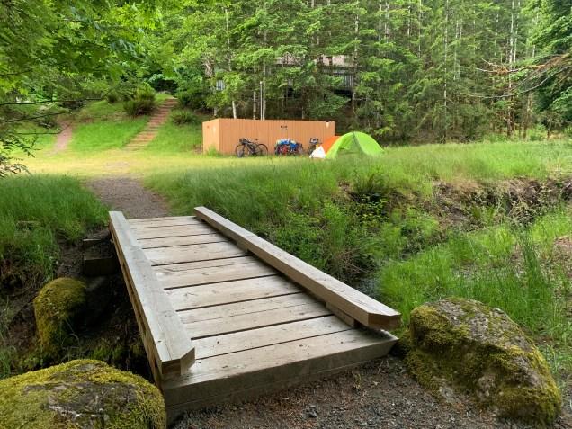 campsite across a small creek