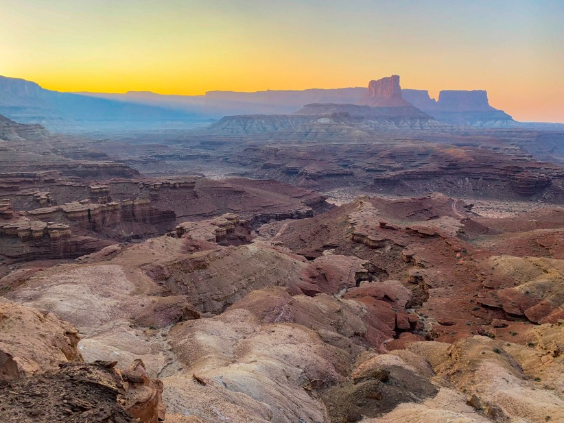 elevated view of canyon landscape at sunrise