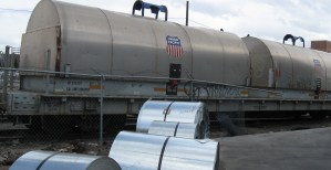 Steel Coils next to a train