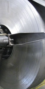 Steel coil on an uncoiler