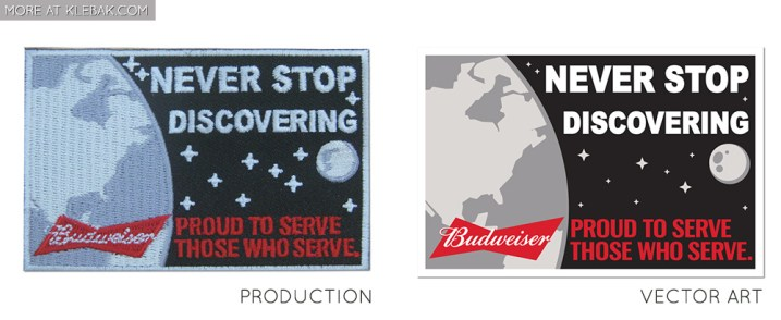 Client: Budweiser Patch was included as a promotional item to celebrate the anniversary of the moon landing.