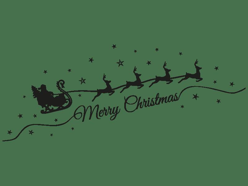 Wandtattoo Weihnachtsmann mit Schlitten  Klebeheldde
