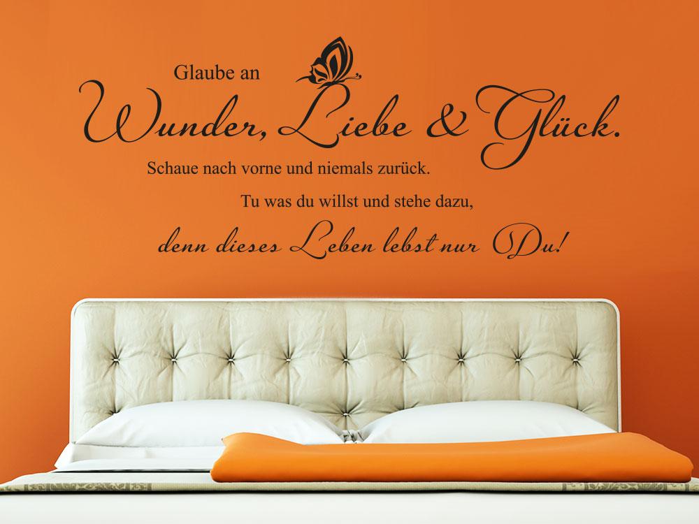Wandtattoo Glaube an Wunder Liebe und Glck  KLEBEHELD