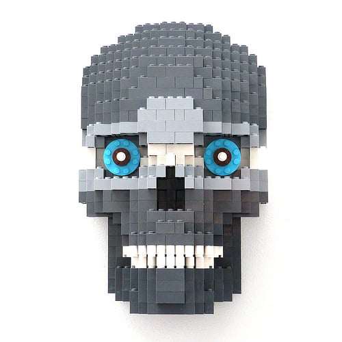 Day of the Dead Grey Skull