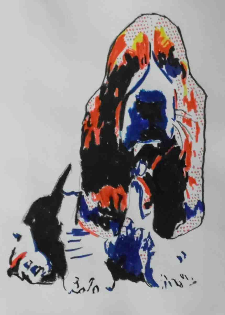 Basset in Roy Lichtenstein Style