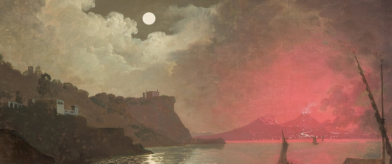 Detail uit 'A view of Vesuvius from Posillipo, Naples', Joseph Wright of Derby