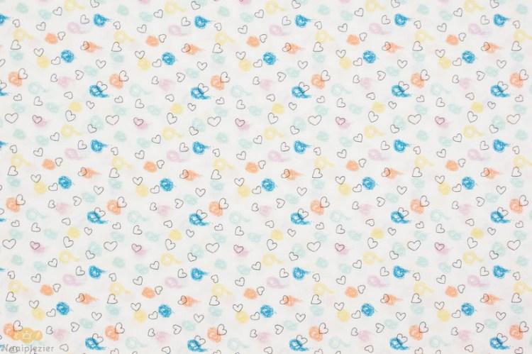 katoen wit blauw geel roze hartjes