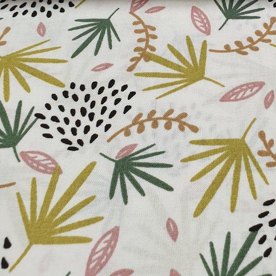 katoen wit mint roze geel grijs jungebladeren