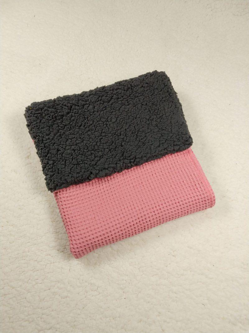 wafel grijze teddy kinderwagen deken roze