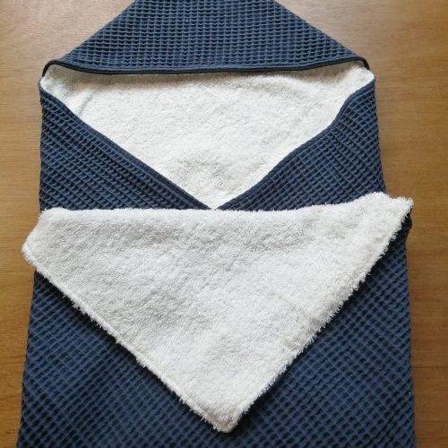 jeans blauw wafel met off white badstof