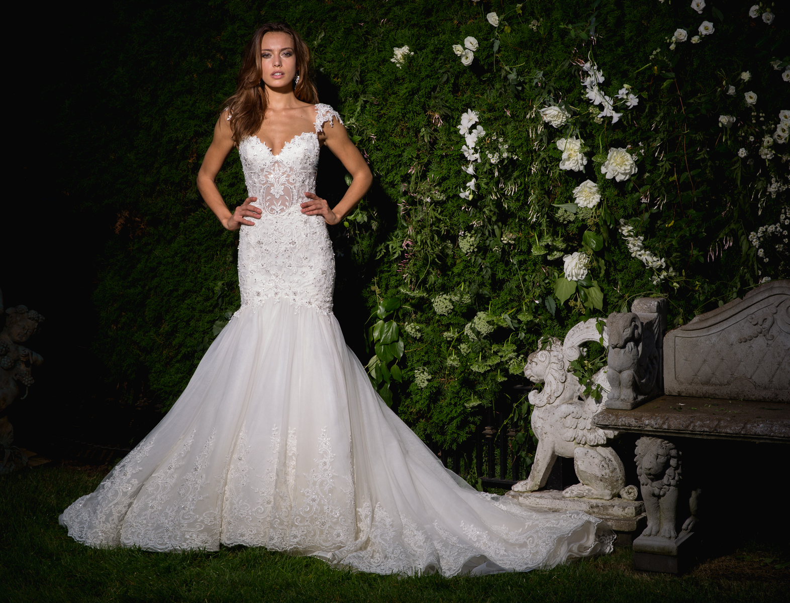 Sweetheart Neckline Cap Sleeve Beaded Bodice Wedding Dress