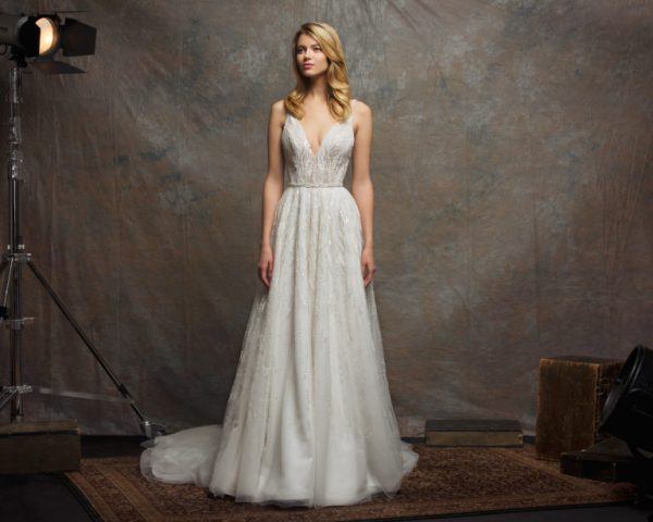 V-neck Sleeveless Sequin A-line Wedding Dress