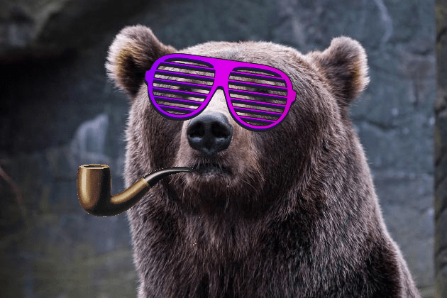Bear got pipe. Bear got shades. Bear don't give no fucks