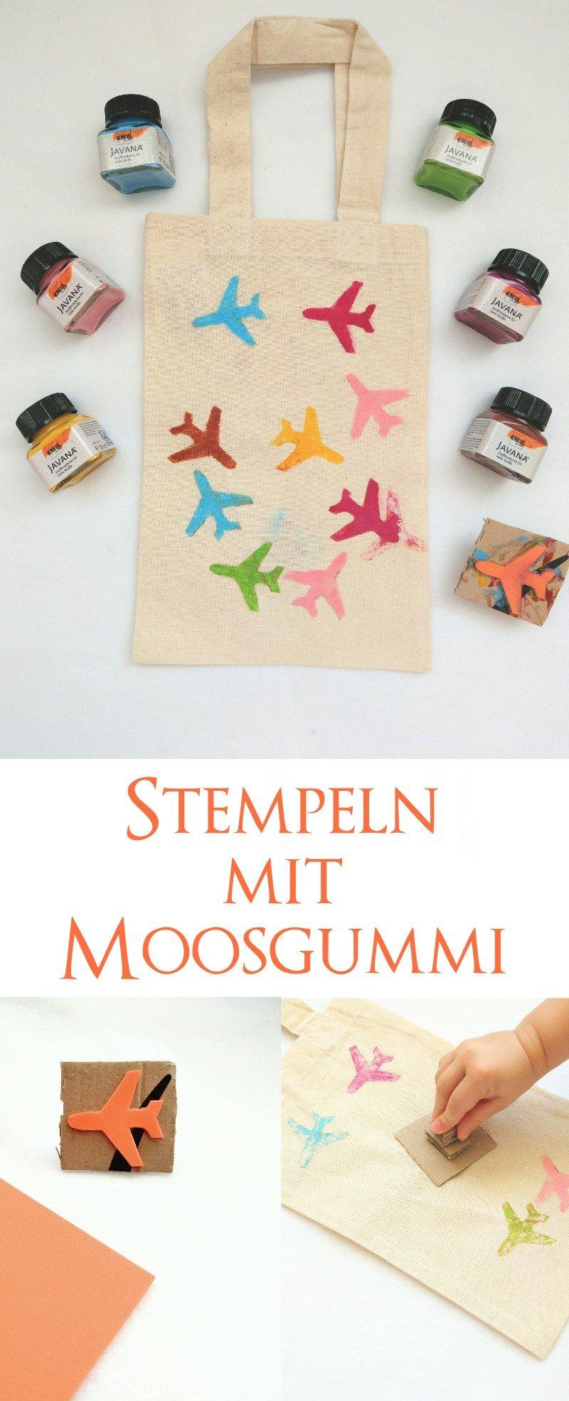 Stoffe lassen sich ganz einfach mit Stempeln aus Moosgummi bedrucken. Eine tolle Bastelidee für Kinder.