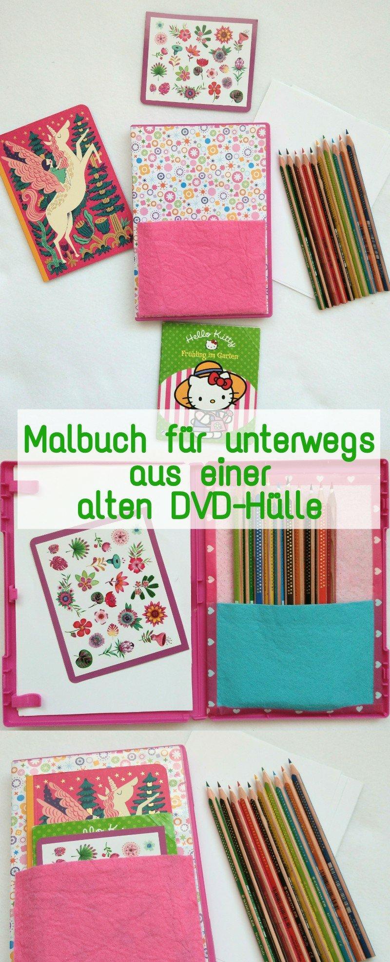 Ein Malbuch für Kinder lässt sich einfach und schnell aus einer alten DVD Hülle basteln. In meiner DIY Schritt für Schritt Anleitung zeige ich euch wie ihr das Malbuch selber machen könnt. Tolle Idee für unterwegs.