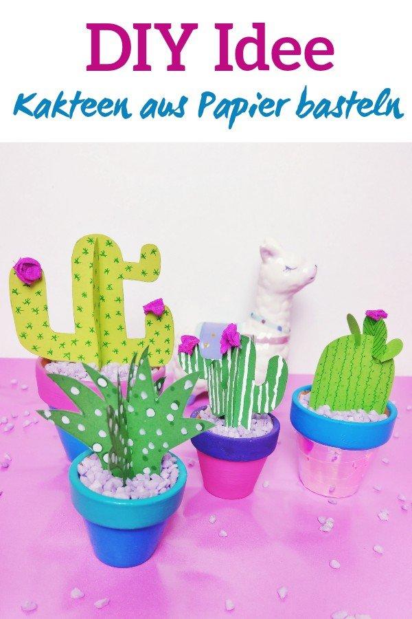 Tolle Kaktus Dekoration DIY Idee für den Sommer. Perfekt um mit KIndern an verregneten Sommertagen zu basteln