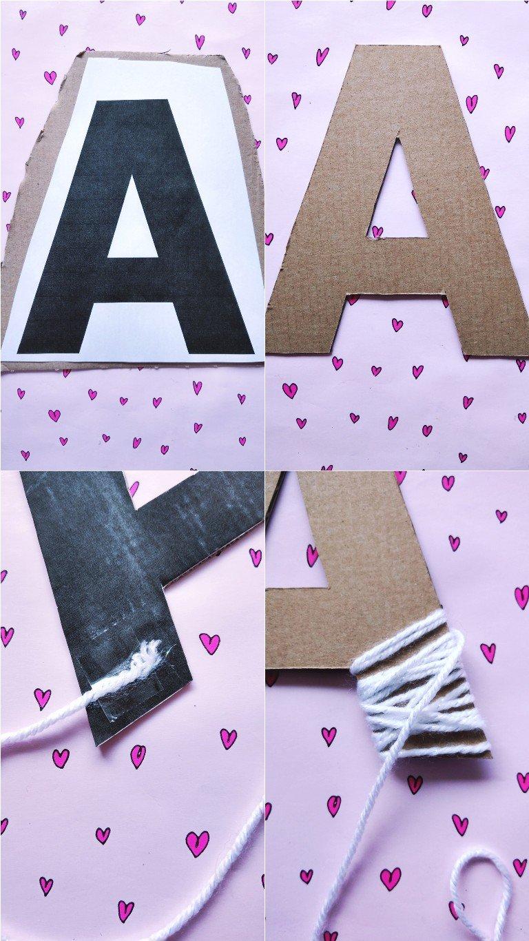 Einhorn Buchstaben aus Karton und Wolle selber machen ...