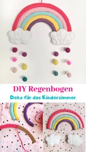 Hier zeige ich euch, wie ihr einen Regenbogen aus Pappe basteln könnt. Der DIY Regenbogen sieht besonders schön als Wanddeko Ration im Kinderzimmer aus und kann ganz individuell gestaltet werden. Schnelle und einfache DIY-Anleitung