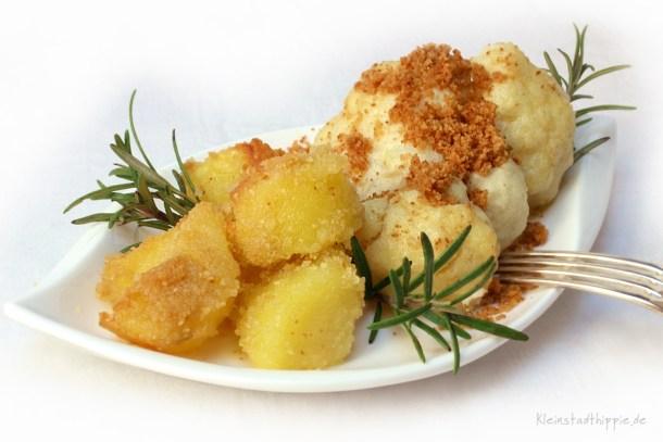 Überbackener Blumenkohl mit Knusperofenkartoffel