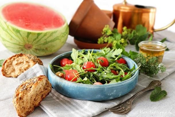 Rucolasalat mit Wassermelone - real - mein kleiner Garten