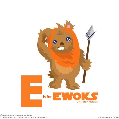 Alphabet aus einer fernen, fernen Galaxy : E ist für Ewoks