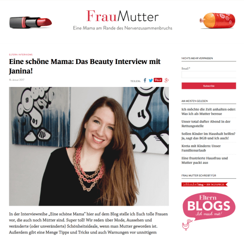 Eine schoene Mama - Beauty Interview bei Frau Mutter