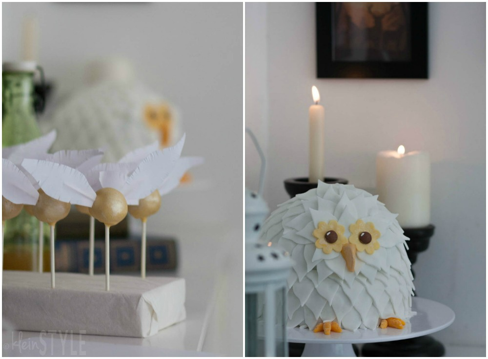 Harry Potter kids Party golden snitch cake pops and Hedwig owl cake ©kleinstyle.com