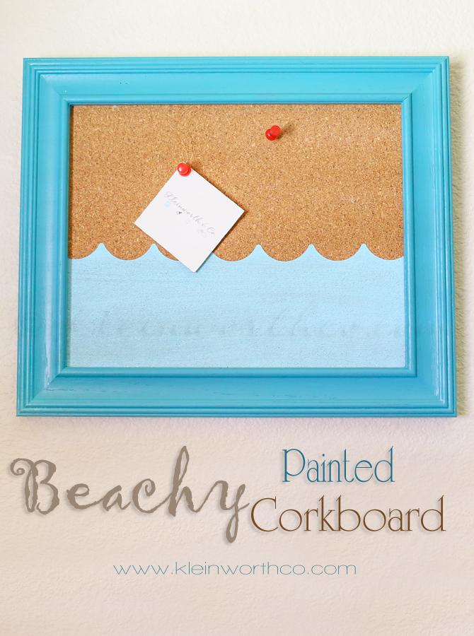 Painted Cork Board : painted, board, Beachy, Painted, Corkboard, Kleinworth