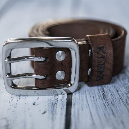 Кожаный двойной ремень ручной работы 40 мм коричневый мужской с литой пряжкой и четырьмя винтами из нержавеющей стали