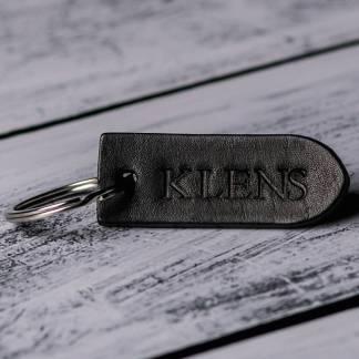 Кожаный брелок для ключей черный