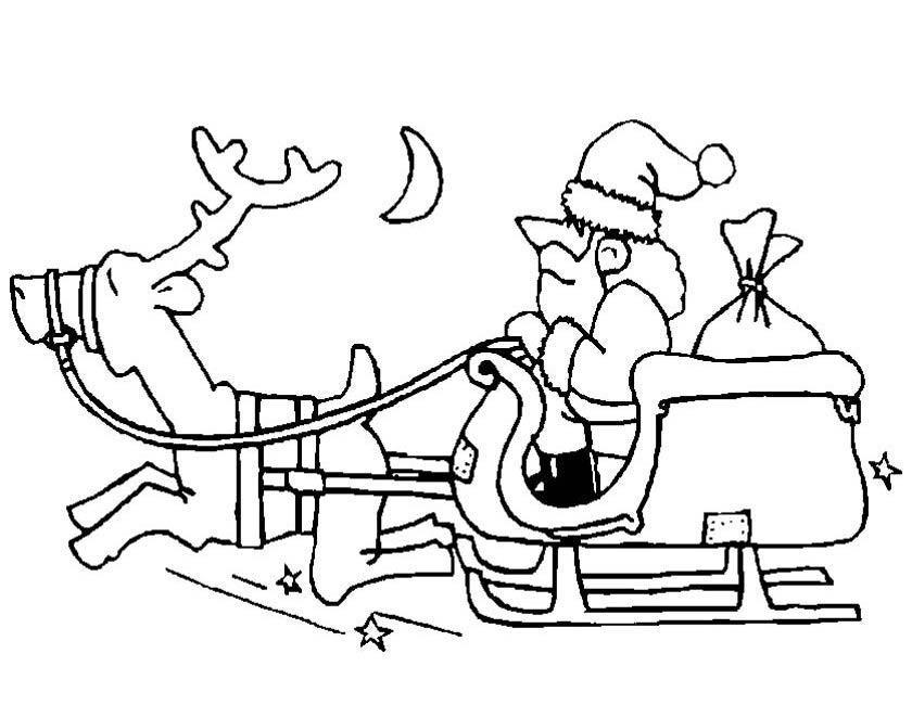 Desenhos De Renas E Do Pai Natal Para Imprimir E Colorir