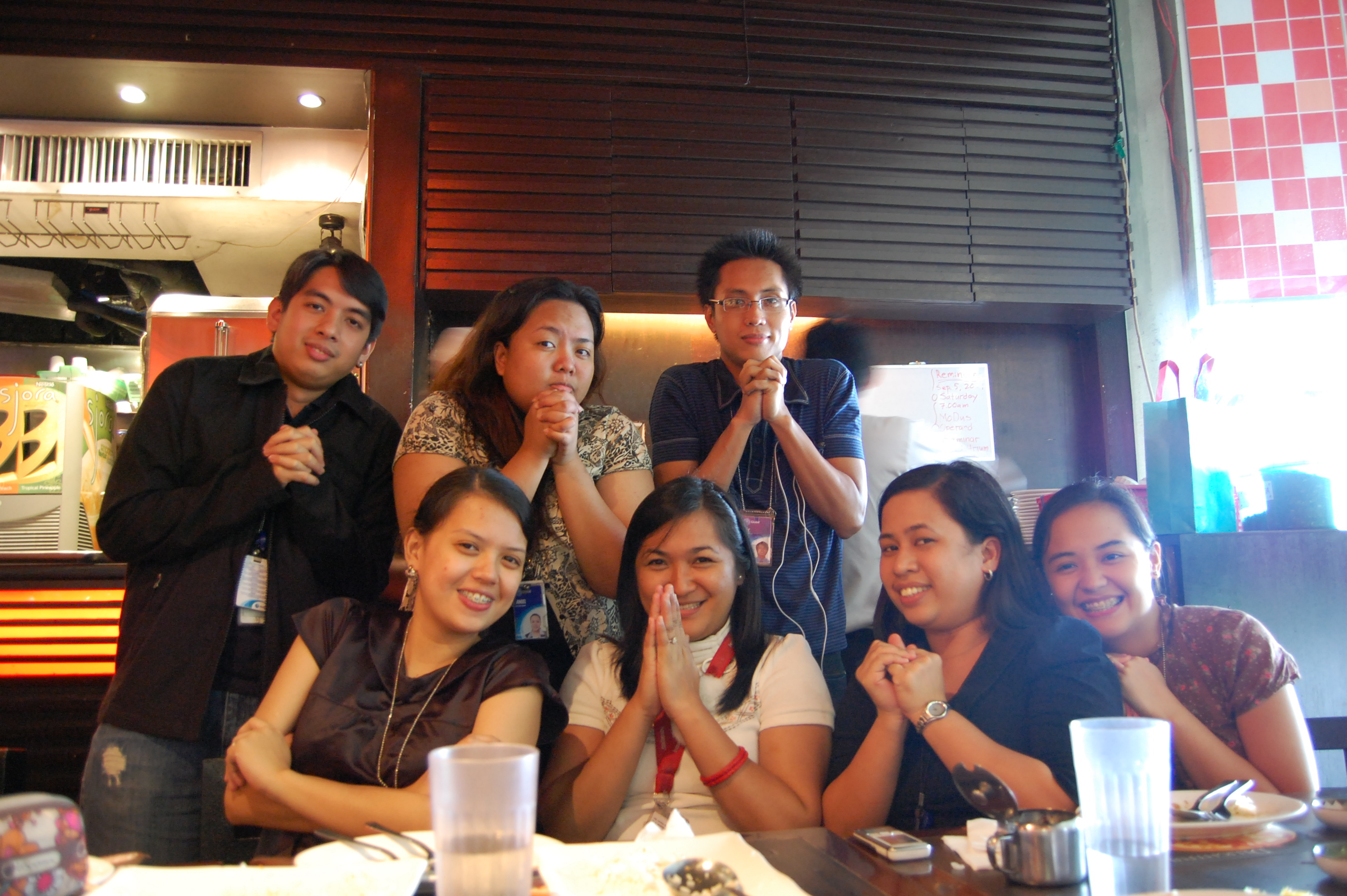 Jay's birthday treat at Mr. Choi (Sep30) We were trying to emulate Athan's ginawin pose. So here's my team, with Jo as Sarah and Dey as Athan. Ahhh good times!