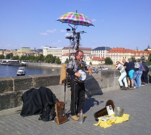 A one-man band on the Charles Bridge