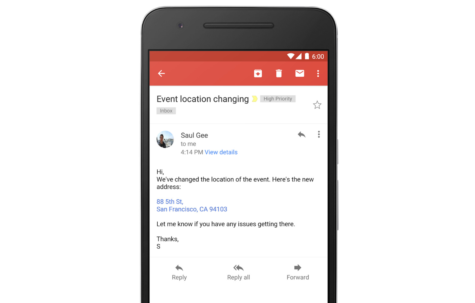 Phone Numbers and Addresses on Gmail App Now Appear as Links