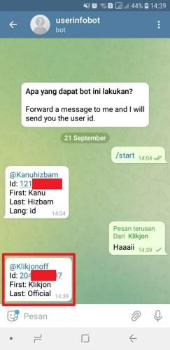 cara melihat id telegram teman