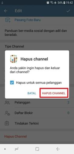 cara menghapus channel telegram