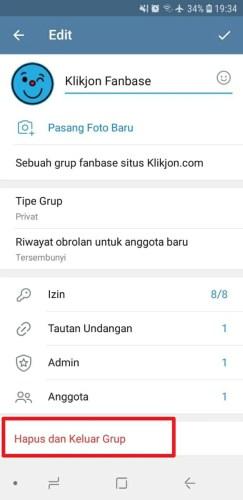 cara menghapus grup telegram