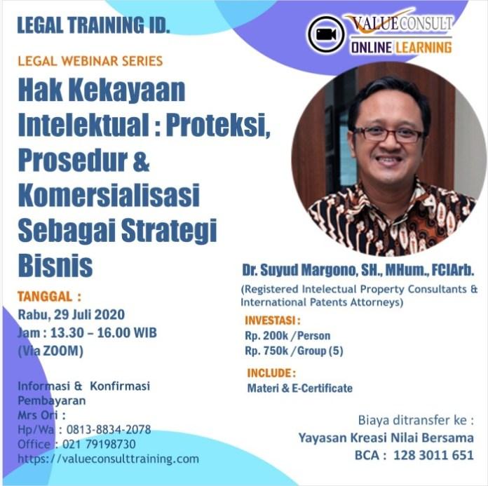 Legal Webinar Series : HAK KEKAYAAN INTELEKTUAL : PROTEKSI, PROSEDUR & KOMERSIALISASI SEBAGAI STRATEGI BISNIS
