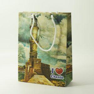 Τσάντα Χάρτινη Κορδόνι Χανιά 25.5×18.5x8cm