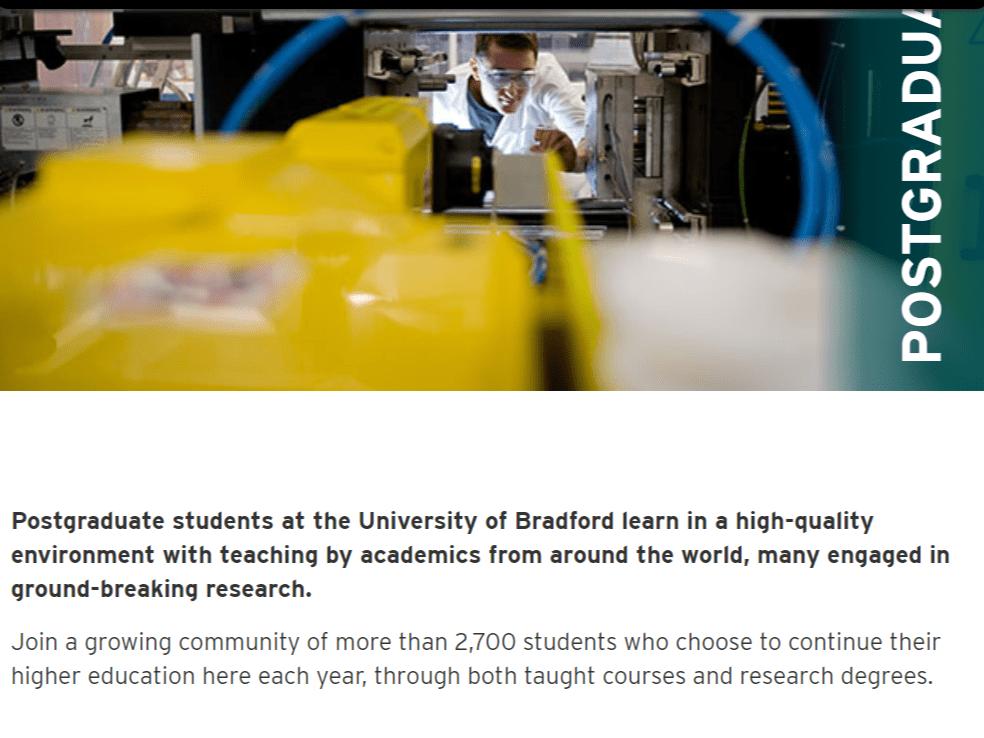 Screenshot of postgraduate website