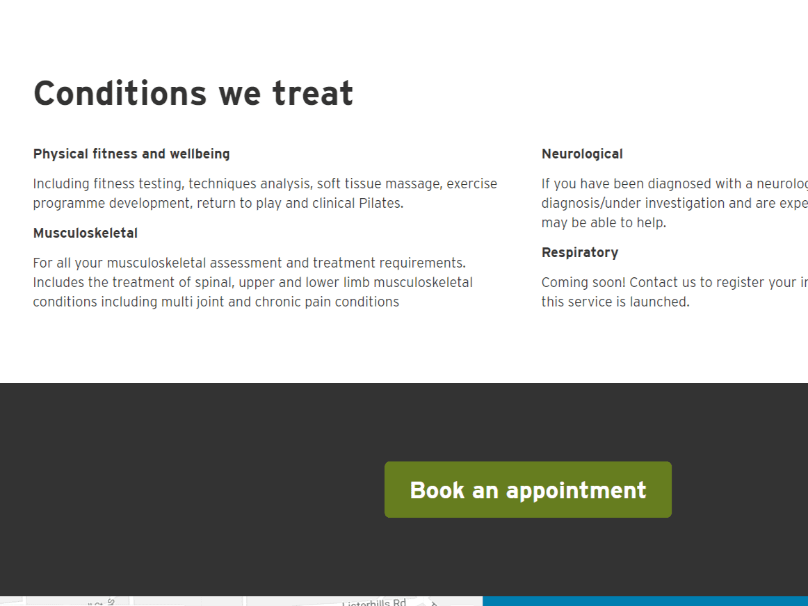 Screenshot of Physio website