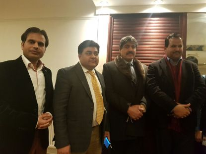 PML-N UK leader Nasir Butt, BArrister Gulnawaz Khan and Chaudhry Ishtiaq with Mobeen Chaudhry at Pakistan Press Club event in Watford 2017