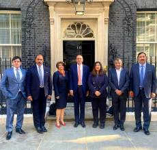 A group photo of office bearers of Conservative friends of Pakistan after a community meeting at 10 Downing street