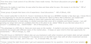 investors leaving review on Bio forum