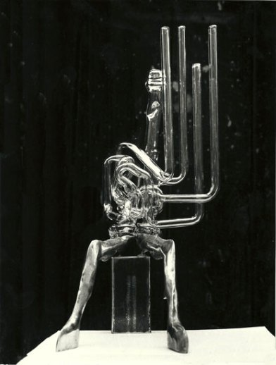 Herr Glaser 40x20x20cm 1980 iron & glass