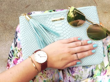 T&J Designs Sunnies, Orly nail polish, Gigi New York Clutch, Coco Rose Boutique Ring